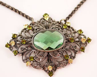 Vintage Rhinestone Necklace - Victorian Style - Vintage Necklace - Vintage Modern Greenery