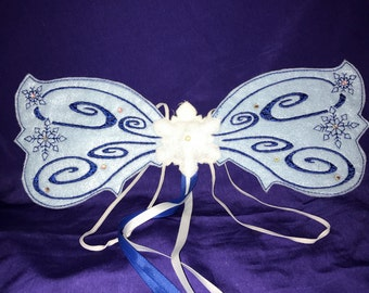Custom Embroidered Snow Queen Fairy Wings with Swarovski Crystals