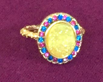 SALE Dara Ettinger BETH Druzy Ring in 14kt Gold/ Yellow / Pink Multi Crystal sz 7