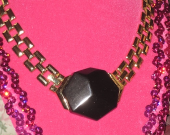 Vintage Trifari 1970 Gold Tone Necklace with Black Enamel Pendant