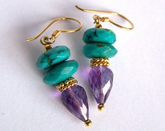 Natural Turquoise Amethyst earrings Gold Vermeil, faceted turquoise, faceted amethyst drop, colorful stone gemstone earrings, pinkqwljewelry