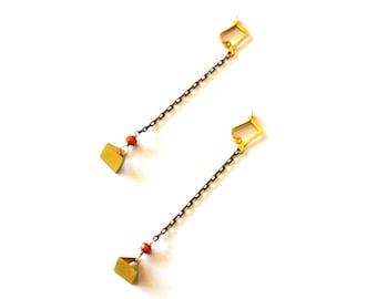 Long Gold Geometric Earrings / Long Chain Earrings / Long Chain Brass Geometric Minimalist Pyramid Earrings with Vintage Neon Orange Beads