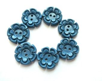 6 Buttons flowers, vintage antique flowers plastic 15mm, blue , RARE