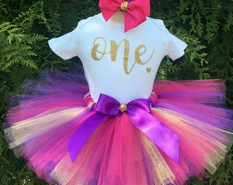 Girl 1st Birthday Outfit - Gold ONE First Birthday Tutu Set - Cake Smash Outfit - ONE Bodysuit