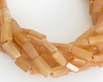 9mm Peach Aventurine Beads, 8mm to 9mm Peach Aventurine Rectangles Bead Strand, Full Strand, Natural Gemstone, Aventurine, Ave203