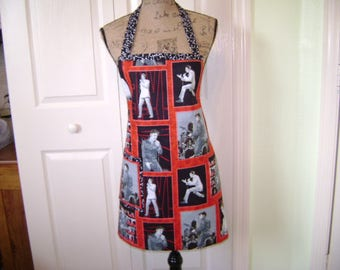 Elvis Presley Apron FREE SHIPPING In Red Black White Elvis FAbric Reversable