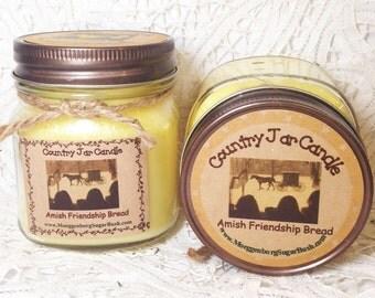 Jar Candles, Amish Friendship Bread, mason jar, Country half pint , almond cake, butter, cinnamon, raisins, clove, Moeggenborg Sugar Bush