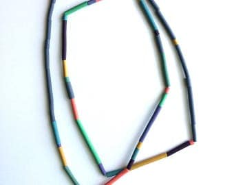 Tube necklace, tropical colors, beaded, contemporary jewelry, art jewelry