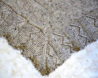 Hand Knit Large Textured Beige Heather Triangular Wool/Acrylic Blend Shawl Gift