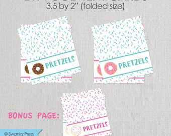 Donut Party Editable Food Labels - Chocolate - White - Pink - Blue - Food Labels - Printable DIY with fully editable text