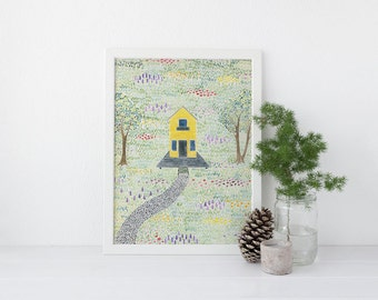 Farmhouse Art Print / Watercolor / Art Print / Yellow House / Farmhouse Gifts / Gifts for Her / Farm Art / Little House / Little House Art