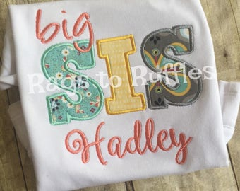 Big Sister Personalized Shirt Big- Sis Monigrammed Shirt- Big Sister Shirt