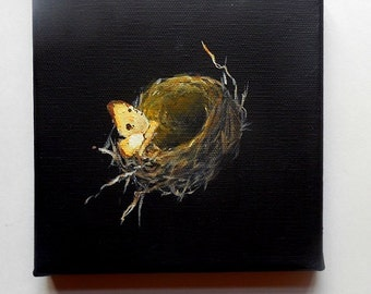 Bird Nest painting original still life with Moth The Architectural Nest 4