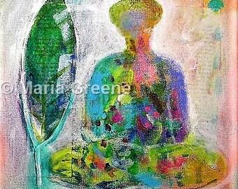 "Buddha original abstract acrylic painting, mixed media,10x10"""
