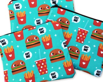 Burger & Fries Zipper Pouch - Coin Purse EAT ME