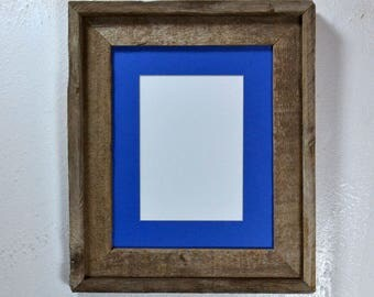 Small picture frame 5 x 7 blue mat in 8x10 frame from rustic reclaimed wood 20 mat colors to choose from