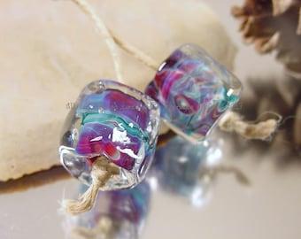 Handmade lampwork glass bead pair, Artisan glass beads, blue beads, purple beads, pink beads, fuchsia beads,  lampwork bead pair, SRA