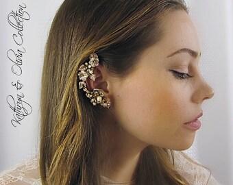 Champagne & Peach Flower Bridal Ear Cuff Coordinated Pearl Post Earring