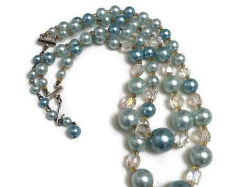Mid Century Pale Blue Double Strand Necklace Glass Iridescent Beads
