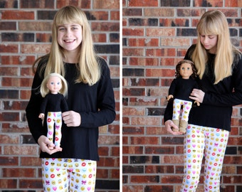 Matching Girl Doll Clothes fits American Girl Doll OR Wellie Wisher - Emoticon / Emoji Legging, 6m, 12m, 18m, 2T, 3T, 4T, 5, 6, 7, 8, 10, 12