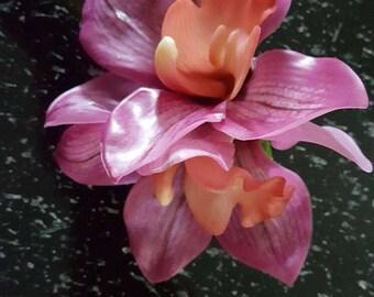 Orchid flower barrette
