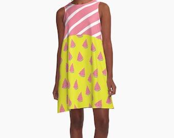 Watermelons and pink Dress, Modern Dress, Woman Dress, Dress for Woman, Geometric Dress, Colorful Dress, summer dress, Gifts for her