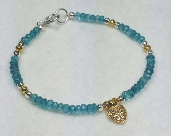 London Blue Topaz Quartz Bracelet, Heart Charm Bracelet, Gold Silver Bracelet, December Birthstone, Beaded, 7 in by Maggie McMane Designs
