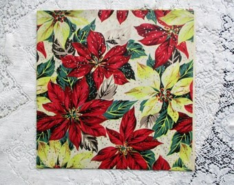 Vintage 1950's NOS Christmas Wrapping Paper - Red & Yellow~Poinsettias Blooms - Silver Snow