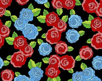 Frida's Roses- David textiles - Cotton Fabric- Red- Black- Blue- Roses- By the yard & Half yard.