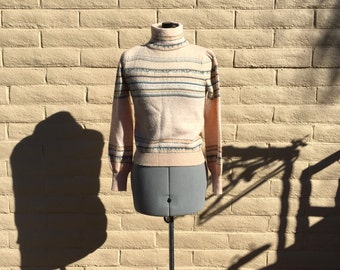 Vintage Petites Peach Turtleneck 80s Ugly Striped Sweater SZ S