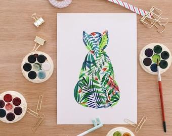 Botanist Cat Giclee Print . Cat . Watercolour . Art Print