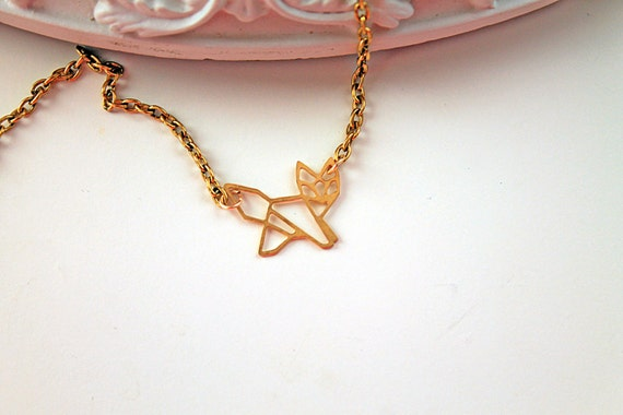 Golden fox necklace filigree geometric woodland foret animal