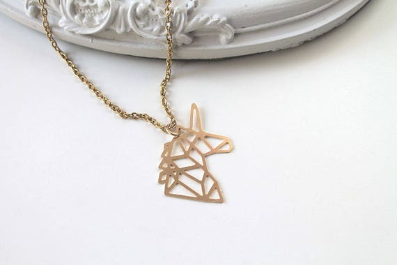 Golden  Unicorn head  necklace fantasy filigree geometric
