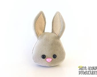 Beige Bunny Plushie, Super Soft Kawaii Light Sand Tan Grey Spring Easter Rabbit Plush, Fluffy Yarn Pompom Tail, READY TO SHIP