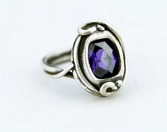 Large Amethyst CZ Sterling Silver Statement Ring
