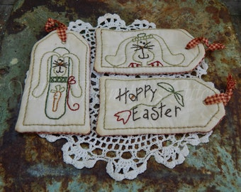 Hand Stitched Easter Tags, Hoppy Easter, Rabbit, Bunny, Tulip, Carrot