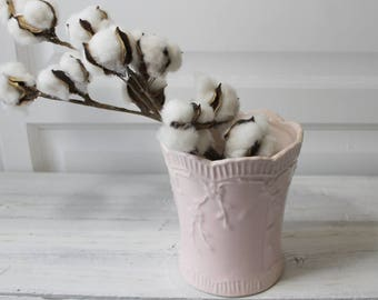Blush Pink flower Vase ,Ceramic, Flower Holder, Vintage Shabby Chic