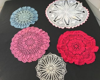 Lot of 5 Vintage Hand Crochet Doilies (Variety of Colors and Sizes)