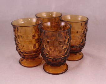 Set of 4 Vintage Amber Block Design Juice Glasses