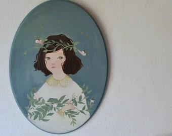 Original Portrait Painting, Original Painting on wood, Portrait Girl, Original acrylic painting, oval portrait.