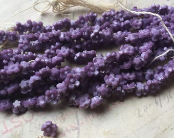 Tiny purple vintage czech glass flower beads