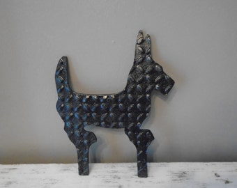 Antique black cast iron boot scraper in shape of a Scotty dog / vintage metal boot scraper /  Scotty novelty item / /garden decoration
