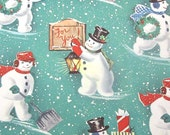 Vintage Christmas Wrapping Paper or Gift Wrap with Cute Snowman with Lantern Shovel Presents Wreath