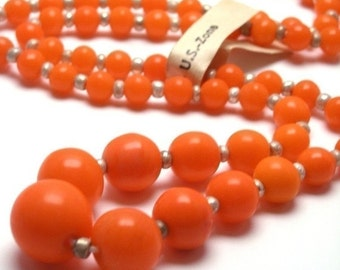 50% OFF SALE Vintage German Glass Graduated Beads 1 Strand - Orange - VGB30