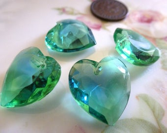 1 Vintage Emerald/Sapphire Givre, Two Tone Glass Heart Pendants, Heart Drop, Top Drilled, Flat Surface, 18x17mm, 1 piece