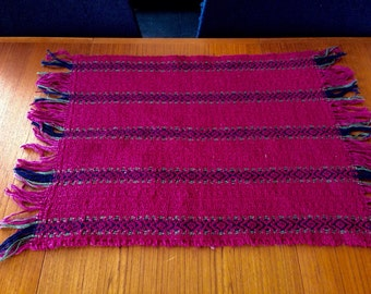 Handwoven placemats, burgandy with navy and dark green stripes, set of 4