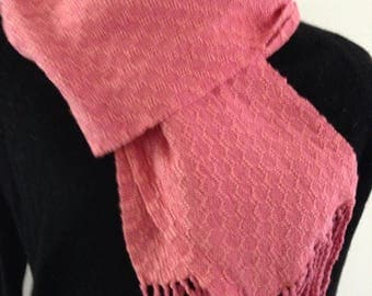 Handwoven scarf , coral rayon and cotton