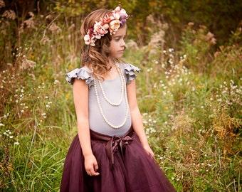 Light Gray Flutter sleeve leotard, Gray leotard, Flower girl leotard, ballet leotard, dance leotard, gymnastics leotard, Gray wedding