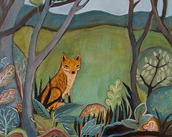 fox, woods, art print, fine art, wall decor, folktales, folkloric fox