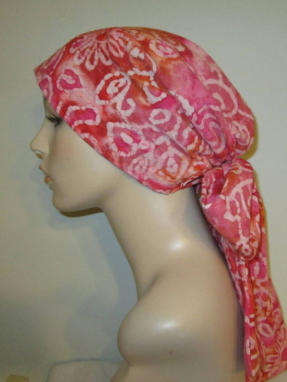 Pink Swirls Gauze Fabric NEW Xtra Wide and Long Ties Chemo Hat, Cancer Scarf, Modest Hat